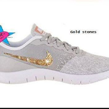 Gold Crystals Sparkly Nike Shoes Women s Flex Contact faf5b0165a