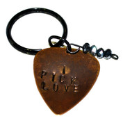 Personalized Guitar Pick Keychain, Hand Stamped Guitar Keychain, Copper Guitar Pick Keychain, Keychain, I Pick Love Keychain