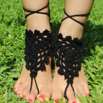 Hand-Crocheted Bride  Yoga Anklet B007681