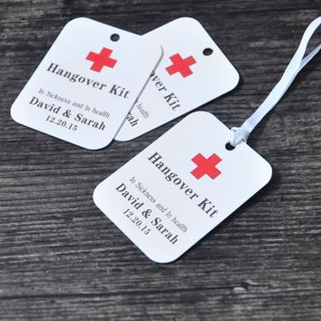 Personalized Gift Tags Thank You Wedding Tag 100pcs/set Customized Hangover Kit Tags