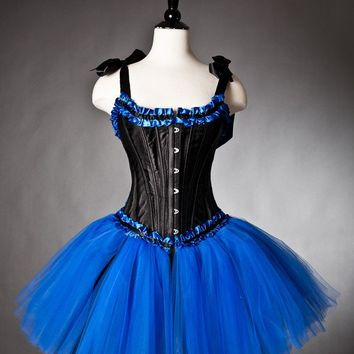 Custom size Royal Blue and Black tulle Burlesque corset dress