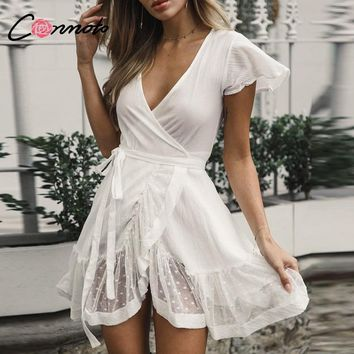 Conmoto Vintage Short Winter White Casual Women Dress V Neck Bow Ruffles Sexy Dress Elegant Party Wrap Dress Vestidos