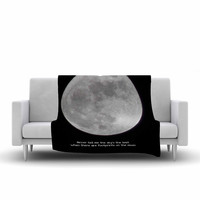 "Sylvia Coomes ""The Moon"" Black White Fleece Throw Blanket"