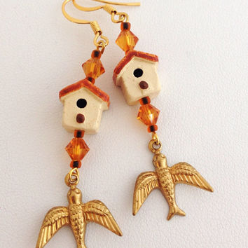 Birdhouse Earrings with dangling Swallows, Swarovski Crystals and 14kt gold plated earwires - white, brown, gold, yellow