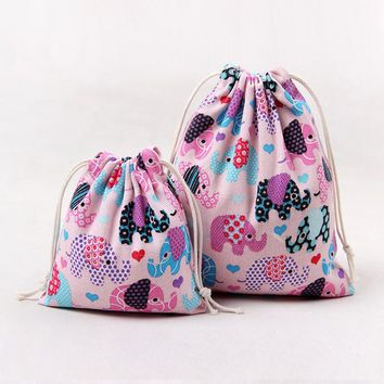 2PCS/Lot Pink Elephants Drawstring Bags Cinch String Backpack