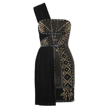 New VERSACE Black Leather-trimmed studded plissé and scuba-jersey dress