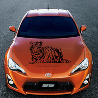 Vinyl Decal Sticker for Car Hood  fits any Auto Vehicle Wild Cat Animal Tiger TK7 In 25 Colors