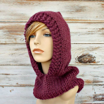 8954e98c606 Fig Purple Knit Hat Hood Womens Hooded Cowl. Hand Knit Hat Womens The Soho  Beret From Pixiebell On Etsy