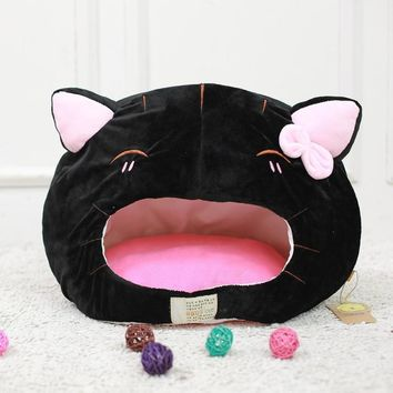 Soft Big Kitty Face Cat Cave Bed With Removable Mat