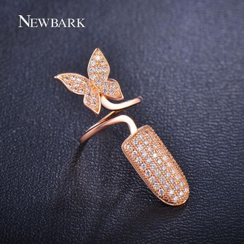 NEWBARK Sparkling Nail Rings Charm Jewelry Micro CZ Pave Butterfly Flying Punk Austrian Crystal Ring For Women Christmas