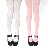 Cherry jacquard tights pantyhose slim cartoon tight cute cosplay princess lolita tight Japan high quality tights free shipping