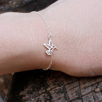 Hummingbird bracelet - sterling silver . tiny hummingbird charm . layering bracelet . simple, minimal charm jewelry handmade in NYC