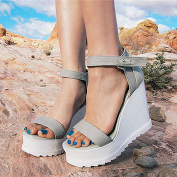 2017 Stylish Design Waterproof Shoes Summer Korean Wedge High Heel Sandals [10761024655]