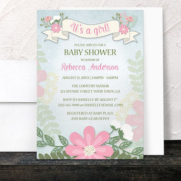 Floral Girl Baby Shower Invitations - Southern Spring or Summer with Pink Green and Blue - Printed Invitations