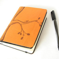 Oak Tree on Orange Leather Moleskine Notebook Cover - Fits Moleskine Classic 3.5 x 5.5 inch Pocket Notebooks - Cover Only