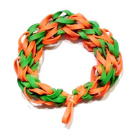 Notre Dame Fighting Irish Sports Bracelet - Orange and Green Rubber Bands - College Football School Colors