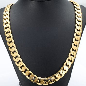 Davieslee 18-36INCH/12MM CUT CURB CUBAN Chain Necklace Mens Chain Womens Chain Gold Filled Jewelry Party Daily Wear DLGN270