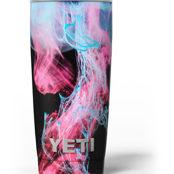Vivid Pink and Teal liquid Cloud Yeti Rambler Skin Kit