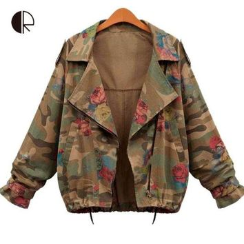 2015 New Women Denim Jackets Autumn Fashion Long Sleeve Zipper Vintage Army Green Camouflage Jacket Flower Print Bomber Coats