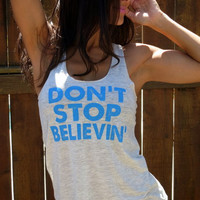 Don't Stop Believin'. Flowy Burnout Tank.  Size SMALL