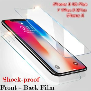 Screen Protector Tempered Glass Front and Back After Protector for iPhone 6 6S Plus 7 7 Plus 8 8Plus iPhone X Protective Film