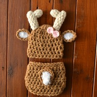 Crochet Baby Girl Deer Outfit Warm Brown Newborn Baby Photo Outfit