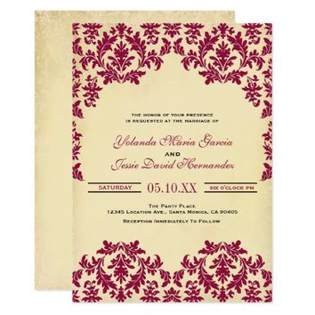 Vintage Wine, Damask Wedding Card