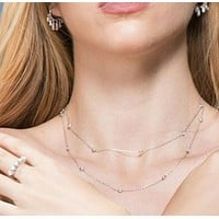 925 Sterling Silver White Zircon  Tiffany Long Necklace
