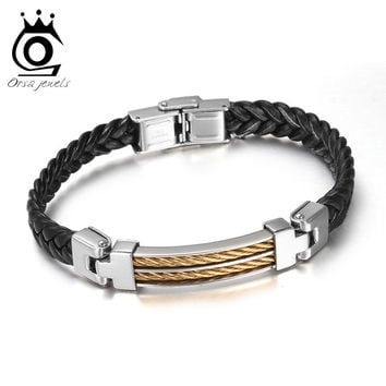 ORSA New Fashion Men Leather Bracelet Personality Retro Titanium Steel Male Bracelets OTB16