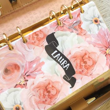 Personalized Pink and White floral Dashboard for Filofax and Kate Spade style planners