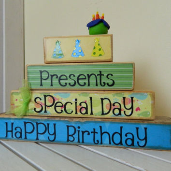 Happy Birthday wooden stacker decoration for by FayesAttic11