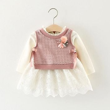 vestido infantil Baby Kids Long Sleeve Lace Ball Gown Tutu Dress + Knitwear Waistcoat Two Pieces Dresses Girls Clothes