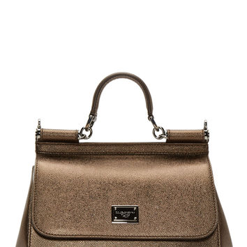 Dolce And Gabbana Bronze Grained Leather Medium Miss Sicily