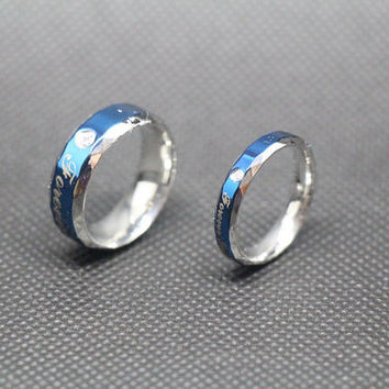 2pcs-Free Engraving,blue Ring, promise ring,couple Rings, Lovers rings