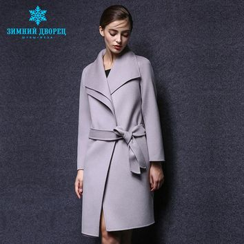 spring and autumn fashion women cashmere coat real cashmere overcoat Turn - Down collar slim Style wool coat