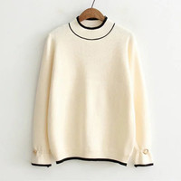 Beige Metal Ring Embellished Sleeve Striped Hem Sweater-4Colors