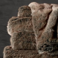 Oversized Luxe Faux Fur Bed Throw - Coyote