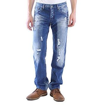 Dinamit Men's Classic Straight Leg Jeans with Distresssed Finished For Broken-In Look