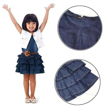 Pretty Girl Kids Outfit Clothes Coat + Denim Dress 2 Pieces Set with Belt USPC