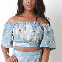 Distress Denim Off The Shoulder Crop Top