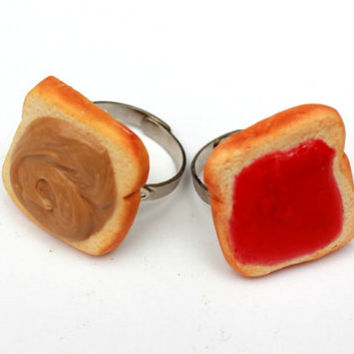 Peanut Butter & Strawberry Jelly BFF Ring Set