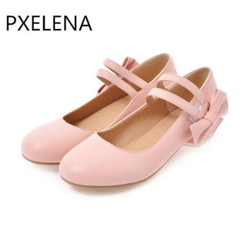 PXELENA Hot 2018 Spring New Sweet Lolita Mary Janes Shoes Girls Round Toe Butterfly-knot Square Low Heels Womens Pumps Hook Pink