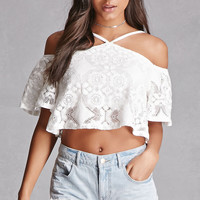 Crochet Open-Shoulder Crop Top