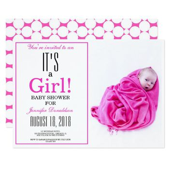 It's a Girl! Pink Baby Shower Photo Invitation