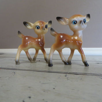 Plastic Deer Made in Hong Kong Vintage Fawns Doe Spotted Deer Miniature Deer Woodland Decor Rustic  Small Deer Set of Two Deer Forest Decor