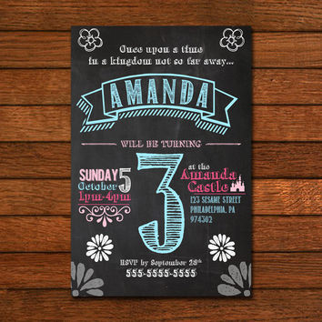 Princess Castle Story Blackboard Invitation