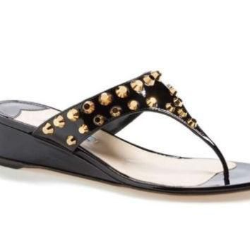 Prada Gold Studded Black Wedge Sandals