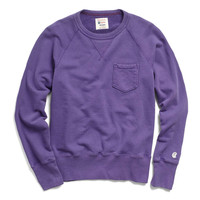 Classic Garment Dyed Pocket Sweatshirt in Purple