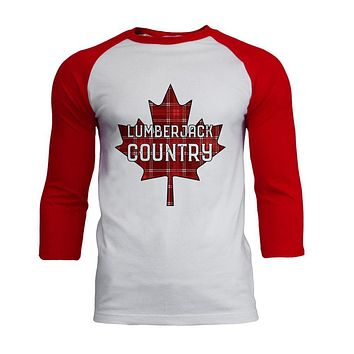 Canada Day Lumberjack Country Plaid Mens Soft Raglan T Shirt