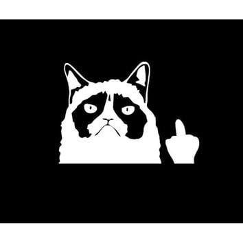 Funny Grumpy Cat Flippi Off vinyl Car Sticker Laptop Graphics window Decal Decor auto Scratch cover stickers for bmw Truck Van